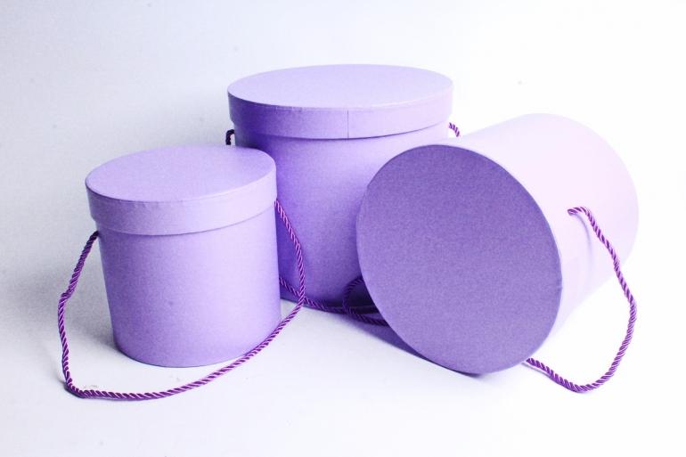 Набор подарочных коробок из 3шт - Цилиндр сирень  В75