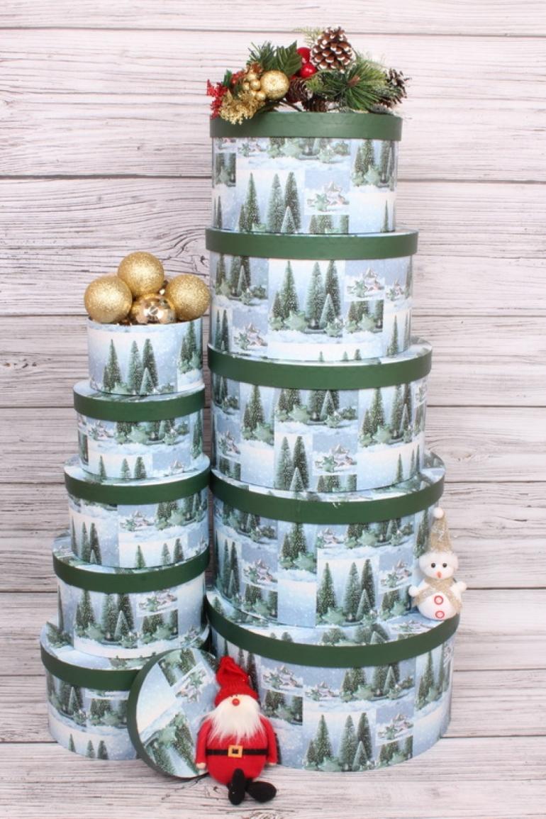 Набор подарочных коробок из 10шт - КРУГ Новый Год  Ёлки зелёные 35*35*18см  N139