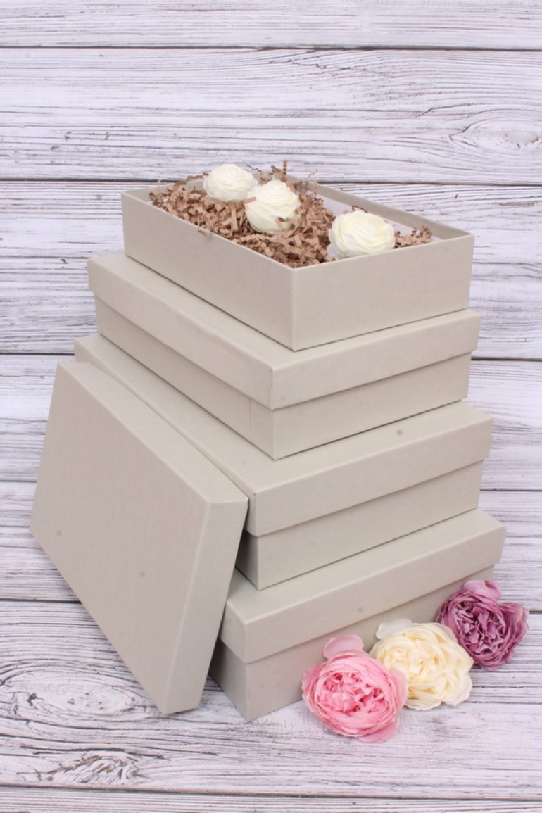 Набор подарочных коробок из 4шт - Прямоугольник №7 ЛЮКС Серый 30*20*8см  Пин07/Люкс/СС
