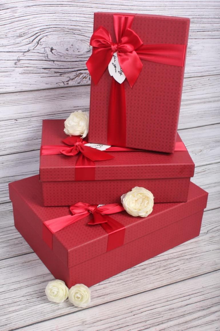 Набор подарочных коробок из 3шт - Прямоугольник Красный с бантом 3 шт.33.5*25*11.5 MHA134014