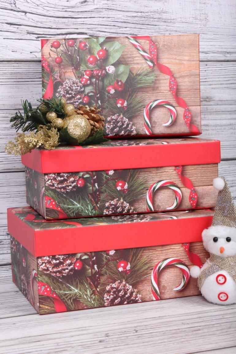 Набор подарочных коробок из 3шт - Прямоугольник Нов. Год 23*16*9,5см  10331-139NG