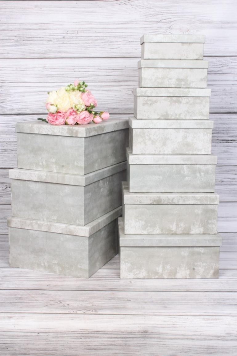 """Набор подарочных коробок из 10шт - Прямоугольник """"Серый бетон"""" 34*26*15,3см SY605-1824"""