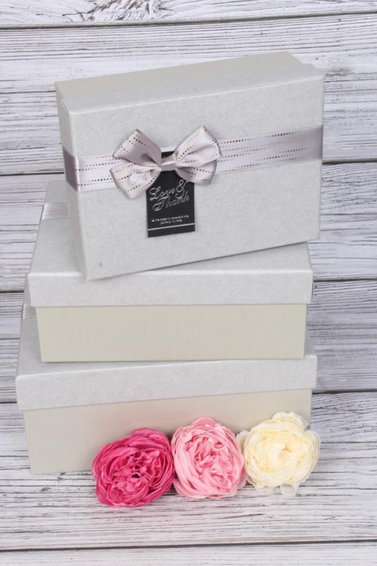 Набор подарочных коробок из 3шт - Прямоугольник серый 21*16*9см В491