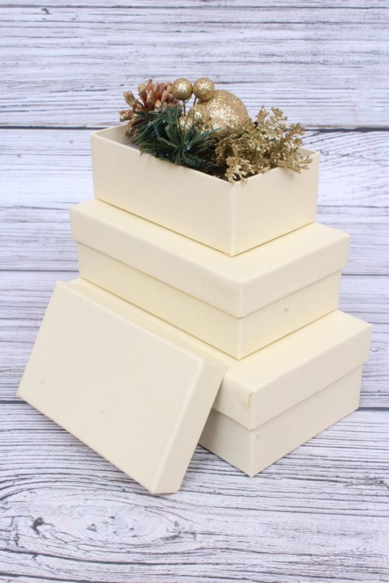 Набор подарочных коробок из 3шт - Прямоугольник  РР23 Люкс Слон. кость 15,5см*9см*5.6см РР23/Люкс/СК