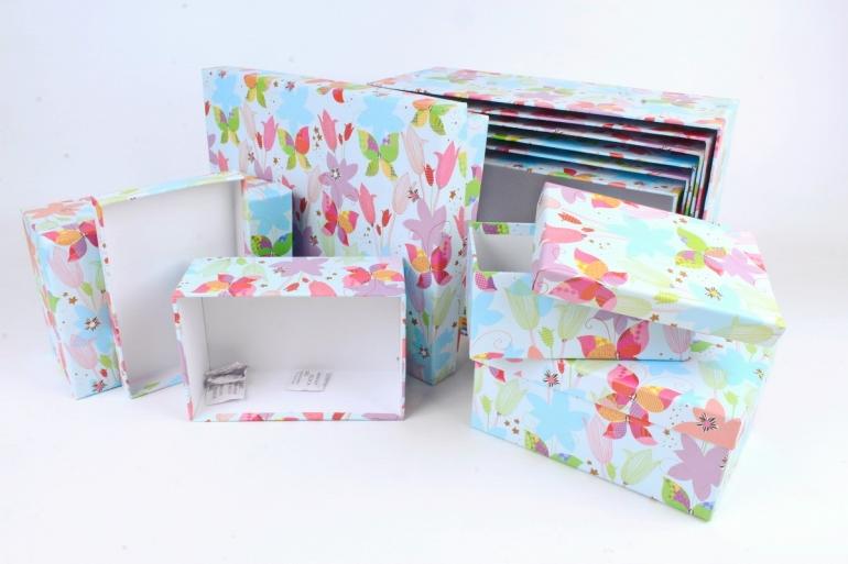 Набор подарочных коробок из 10шт -  Прямоугольник Цветочные бабочки голубые   К790