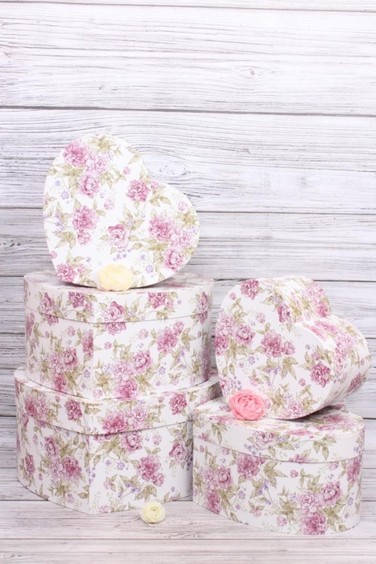 Набор подарочных коробок из 5шт- Сердце Цветы пастель  d=40*32, h=19см Т423
