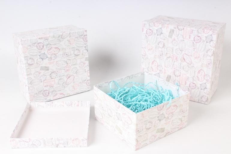 Набор подарочныз коробок из 3шт - Квадрат № 75 Почтовые штампы 19,5см*19,5см*11см  Пин75ПМ
