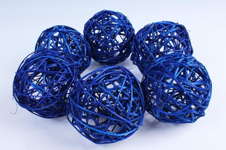 Набор шаров плетеных (ротанг) 6 шт синий