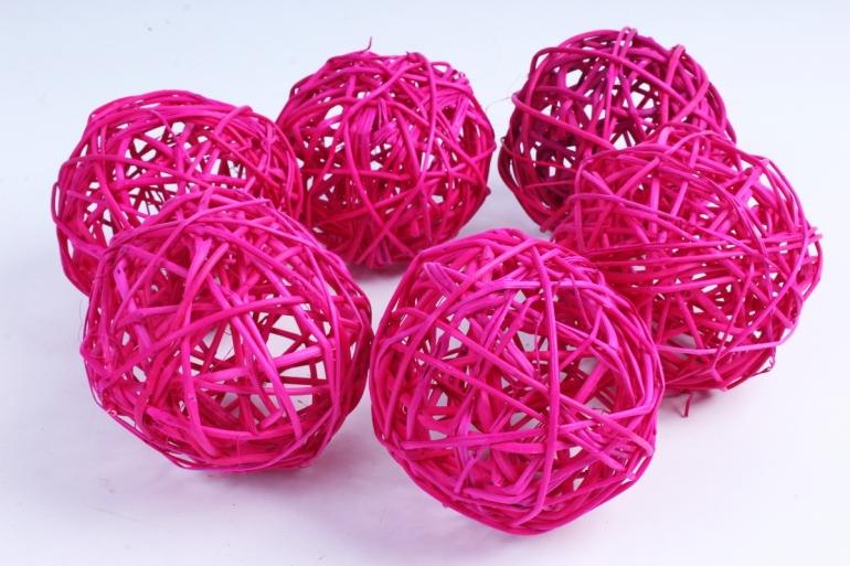 Набор шаров плетеных (ротанг) 6 шт ярко-розовый