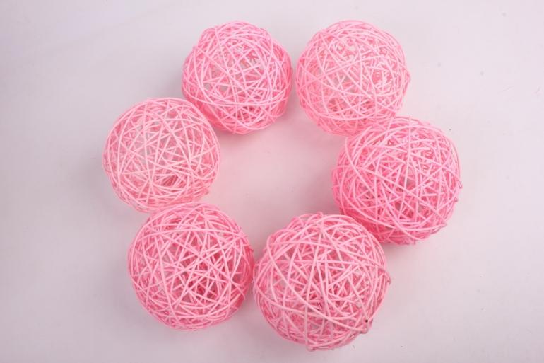 набор шаров плетеных (ротанг) 6 шт, d12см, розовый