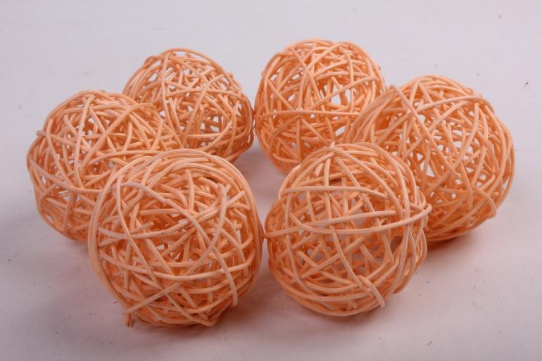 набор шаров плетеных (ротанг) 6 шт, d7см, кремовый