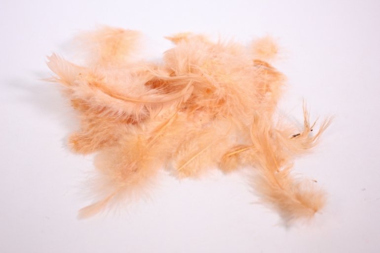 перья декоративные - персик в пакете 10гр (код 1580)