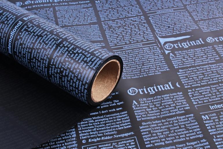 Пленка матовая 60см*10м газета белый/черный