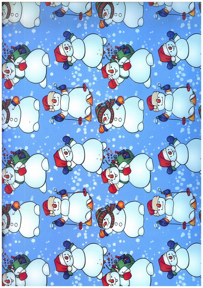 подарочная бумага - глянец 100/204 - новый год - снежные добряки 0,7х1м (10 листов)