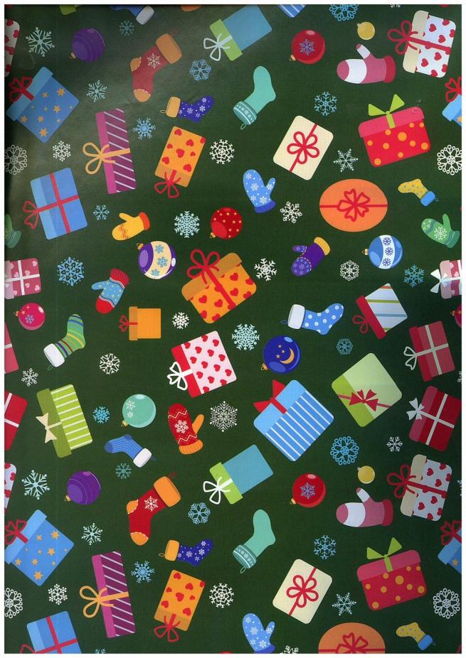 подарочная бумага - глянец 100/209 - новый год - подарчата 0,7х1м (10 листов)
