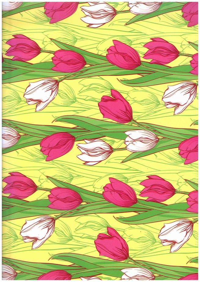подарочная бумага - глянец 100/328 тюльпаны вертикаль 0,7х1м (10 листов)