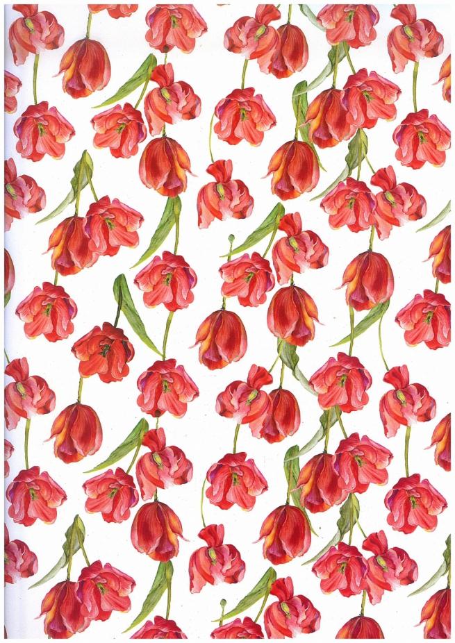 подарочная бумага - глянец тюльпаны 0,7х1м (10 листов) м