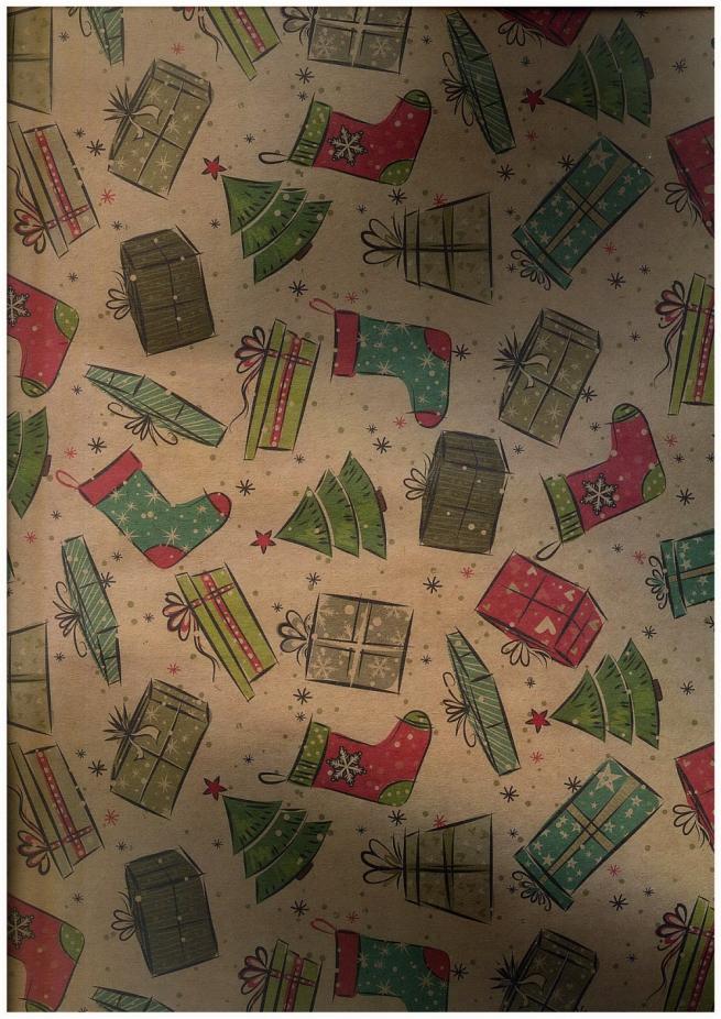 подарочная бумага - крафт 203/101 - новый год - винтажные подарки  0,7х1м (10 листов)