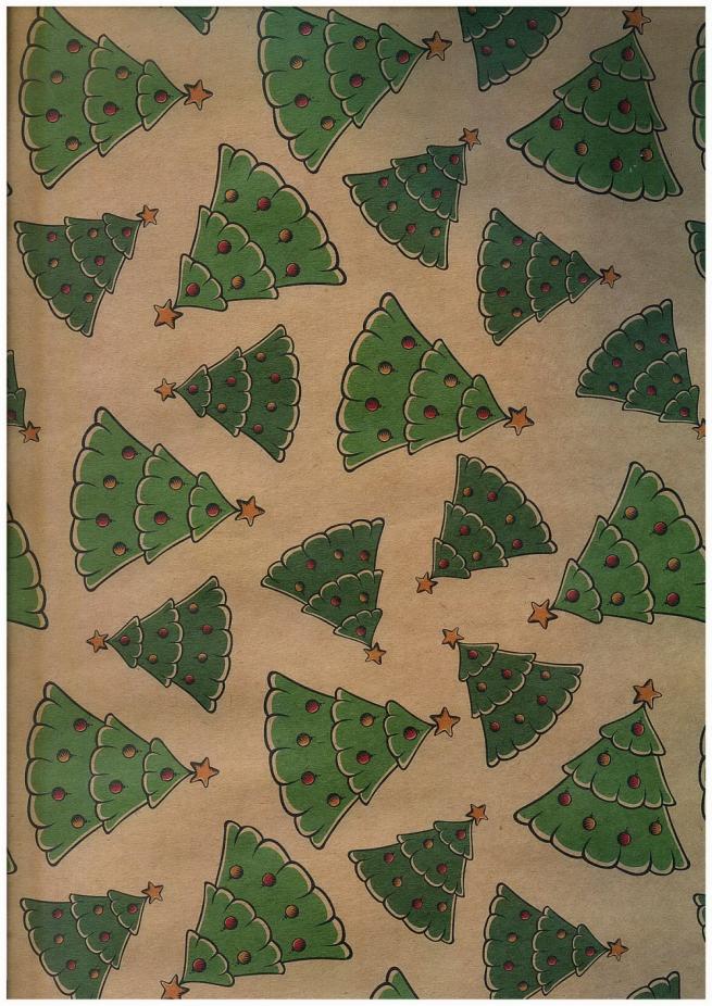 подарочная бумага - крафт 203/104 - новый год - танцующие елочки  0,7х1м (10 листов)