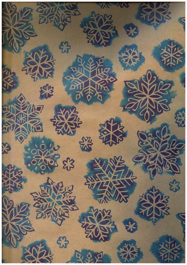 подарочная бумага - крафт 203/109 - новый год - снегопад  0,7х1м (10 листов)