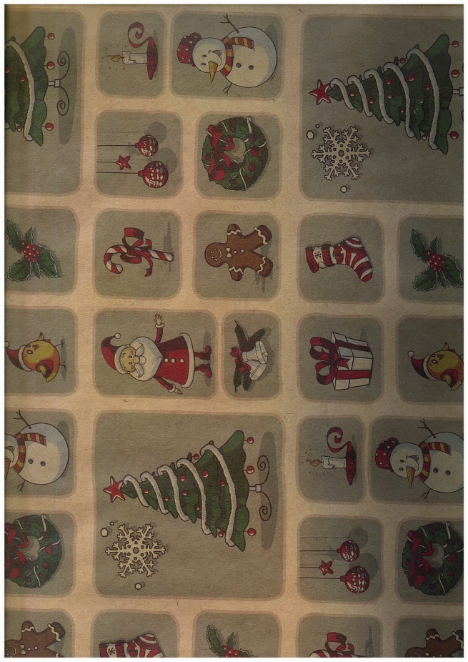 подарочная бумага - крафт 203/113 - новый год - мозаика  0,7х1м (10 листов)