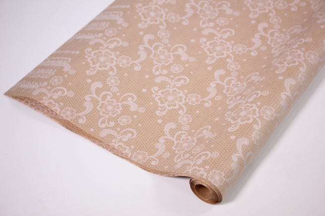 подарочная бумага крафт 203/452 цветочное кружево 0,7*1м в лист. (10 лист.)