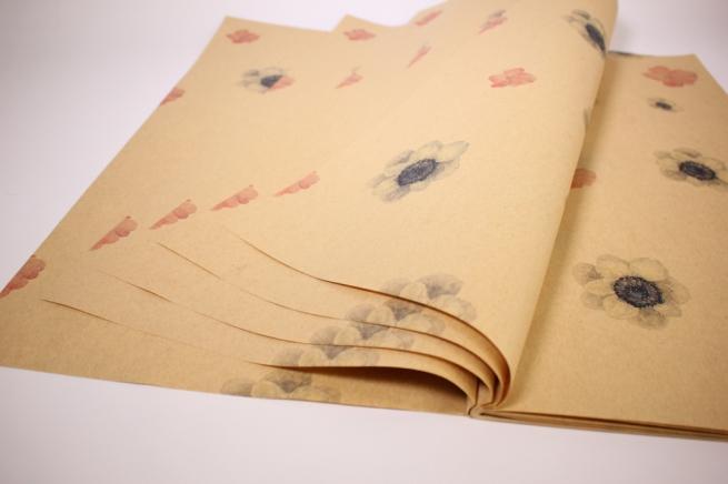 подарочная бумагакрафтанемонылист60*60см.(20л/пач)бурый