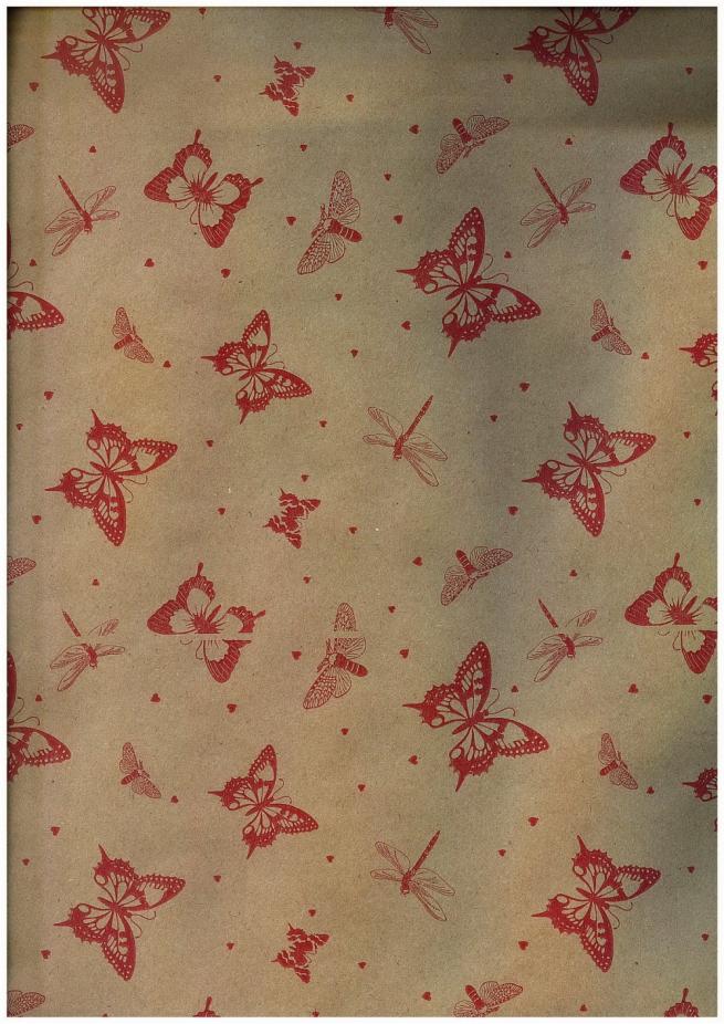 подарочная бумага крафт бабочки красные (60гр х700мм, рулон 10м) беларусь