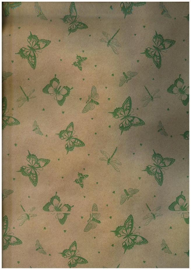 подарочная бумага крафт бабочки зелёные (60гр х700мм, рулон 10м) беларусь