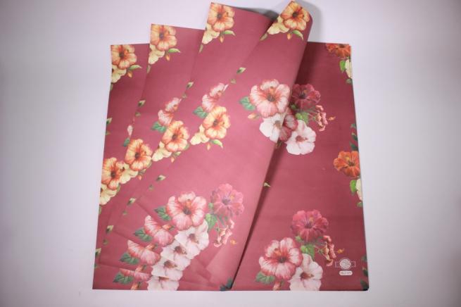 подарочная бумагакрафтгибискуслист60*60см.(20л/пач)бордовый