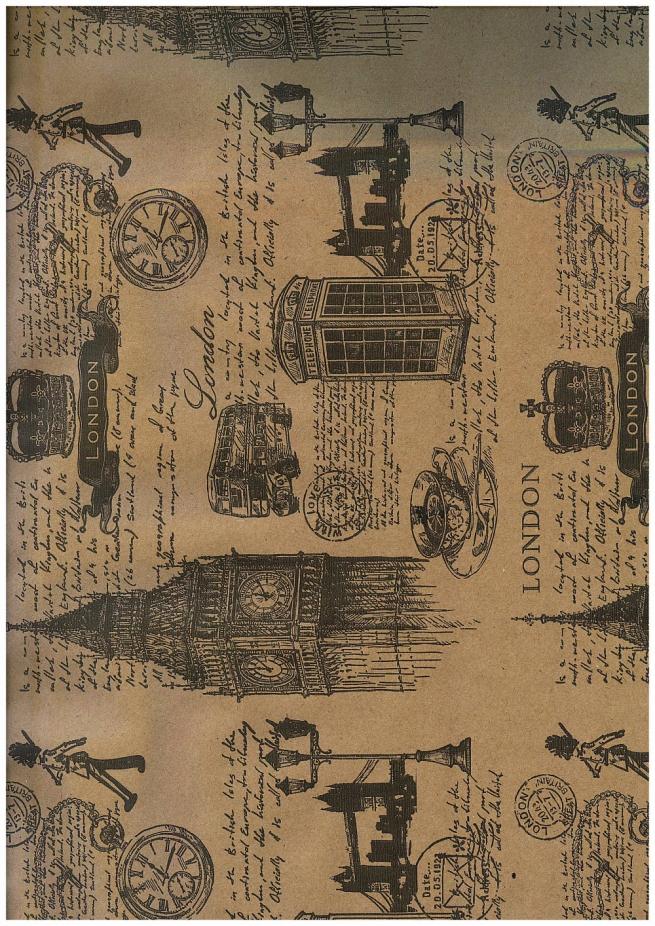 подарочная бумага - крафт  лондон 0,7х10м в листах - черный цвет на коричневом фоне м
