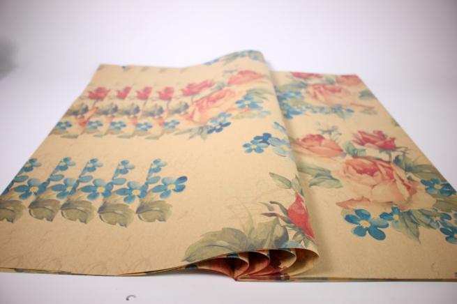 подарочная бумагакрафтрозылист60*60см.(20л/пач)бурый