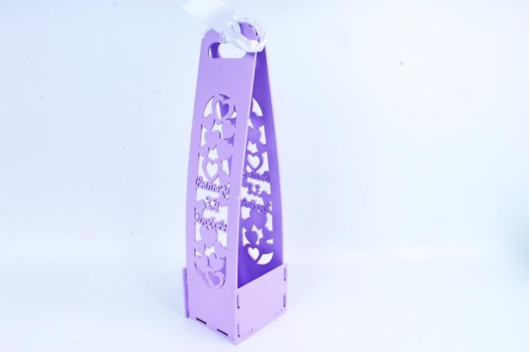 """Подарочная коробка под шампанское """"Выпьем за любовь!""""  сирень ПУ459-02-0903"""