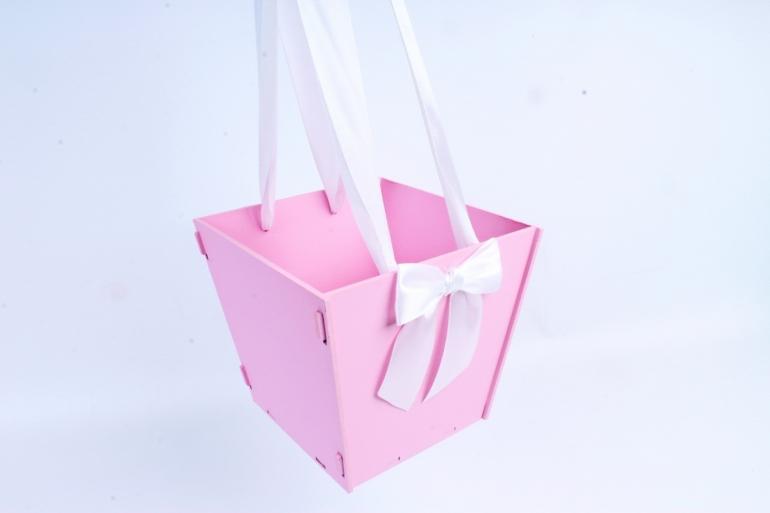 Подарочная коробка-сумка №1  МДФ, оформл, розовый-белыйПУ431-02-0503
