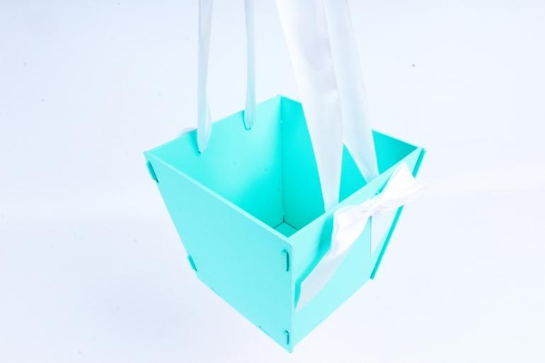 Подарочная коробка-сумка №1  МДФ, оформл, тиффани-белый ПУ431-02-2603