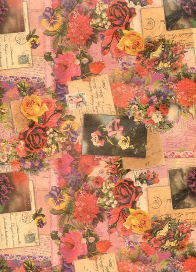 """подарочная крафт бумага """"цветочная феерия"""" 0,7х1м в листе (10 лист.)"""