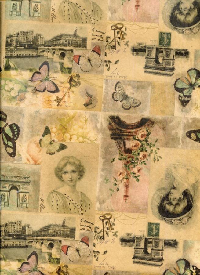 """подарочная крафт бумага """"француская бабочка"""" 0,7х1м в листе (10 лист.)"""