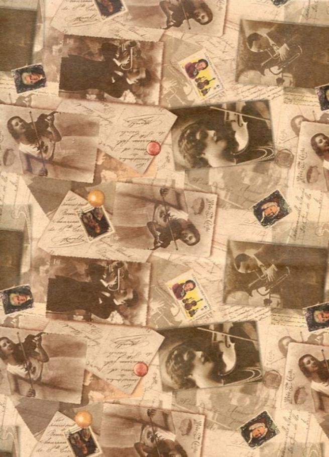 """подарочная крафт бумага """"симфонический оркестр"""" 0,7х1м в листе (10 лист.)"""