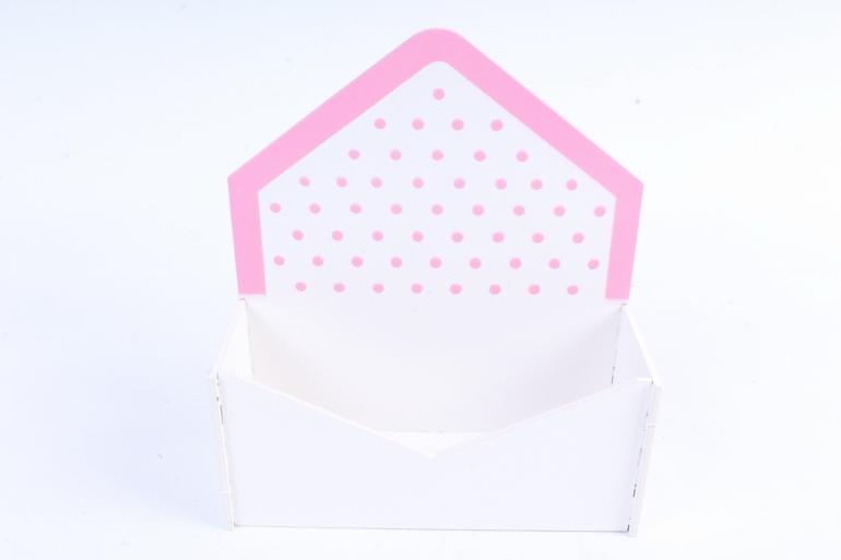 """Подарочная упаковка """"Конверт"""" малый, с горошком, 1 шт., белый-розовый   ПУ347-02-03"""