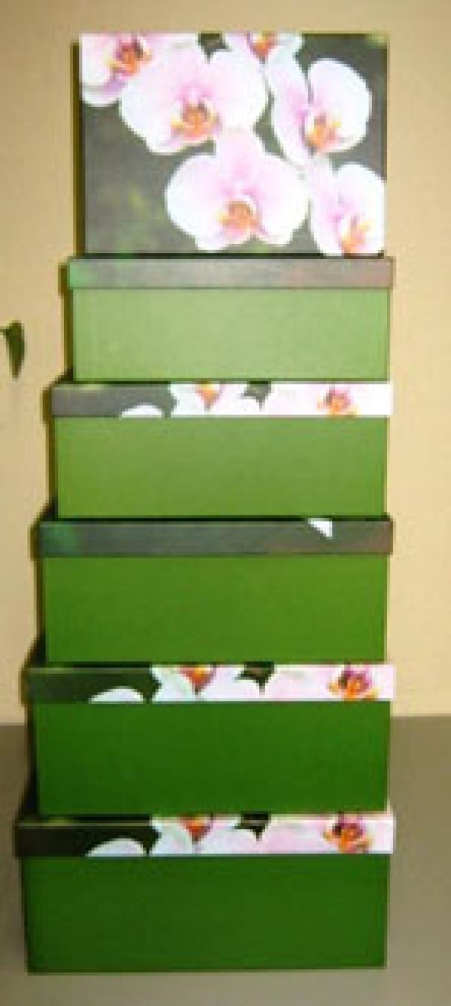 подарочные коробки (набор из 6 шт) прямоугольник 38х30х17,5 см gd390 - орхидея