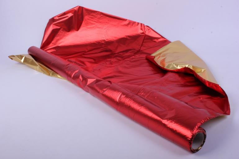полисилк металл в рулоне (1м*50м) золото/красный
