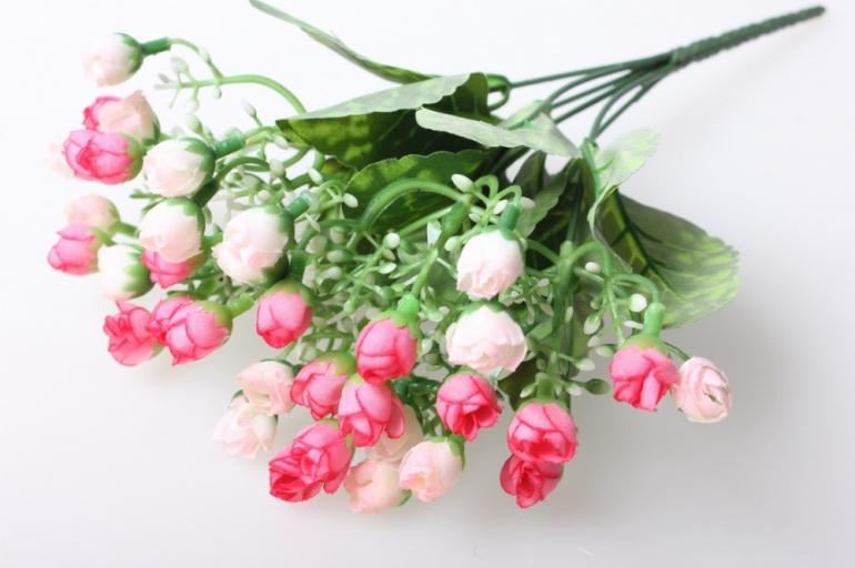 роза мини букет бело/розов  30см