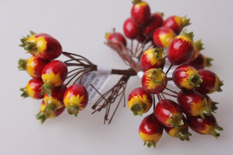 искусственные фрукты шиповник красный 1,8см (12 пучков по 12 шт) искусственные фрукты 7749