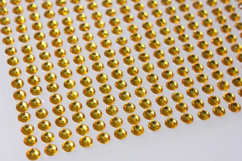 стразы желтые граненые на липучке 4мм 1000шт  dz459 8821