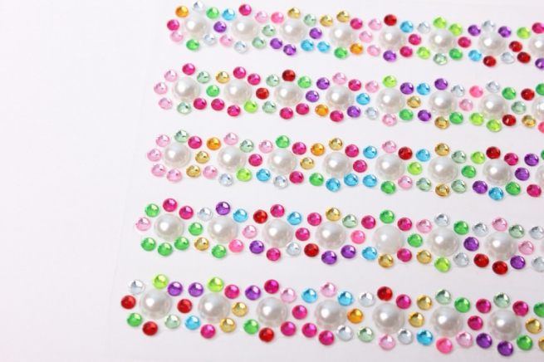 стразы жемчуг с цвет.прозрачные на липучке   dz41-3