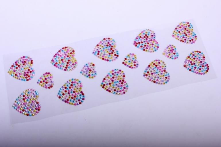 стразы на липучке -  сердце мозаика 14шт  dz618 - код 1071