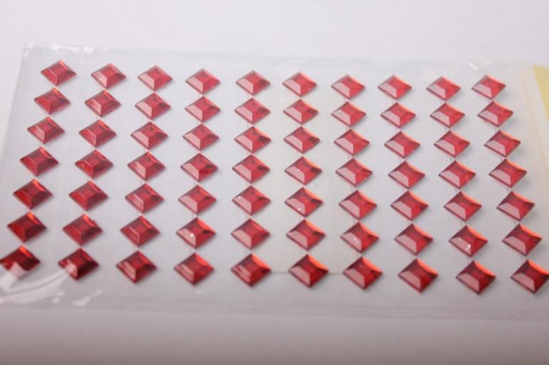 стразы ромб красный 8мм на липучке 54шт 2014sq-06