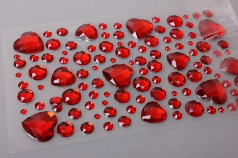 стразы сердца красные 110шт dz562