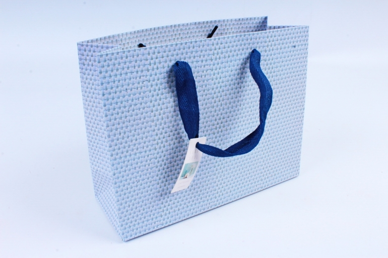 Сумка  Люкс  Рогожка голубая L211  Цена за 1шт