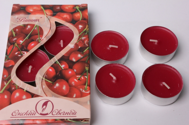свеча чайная 12 гр ароматизированные 6шт/уп  вишня 001822